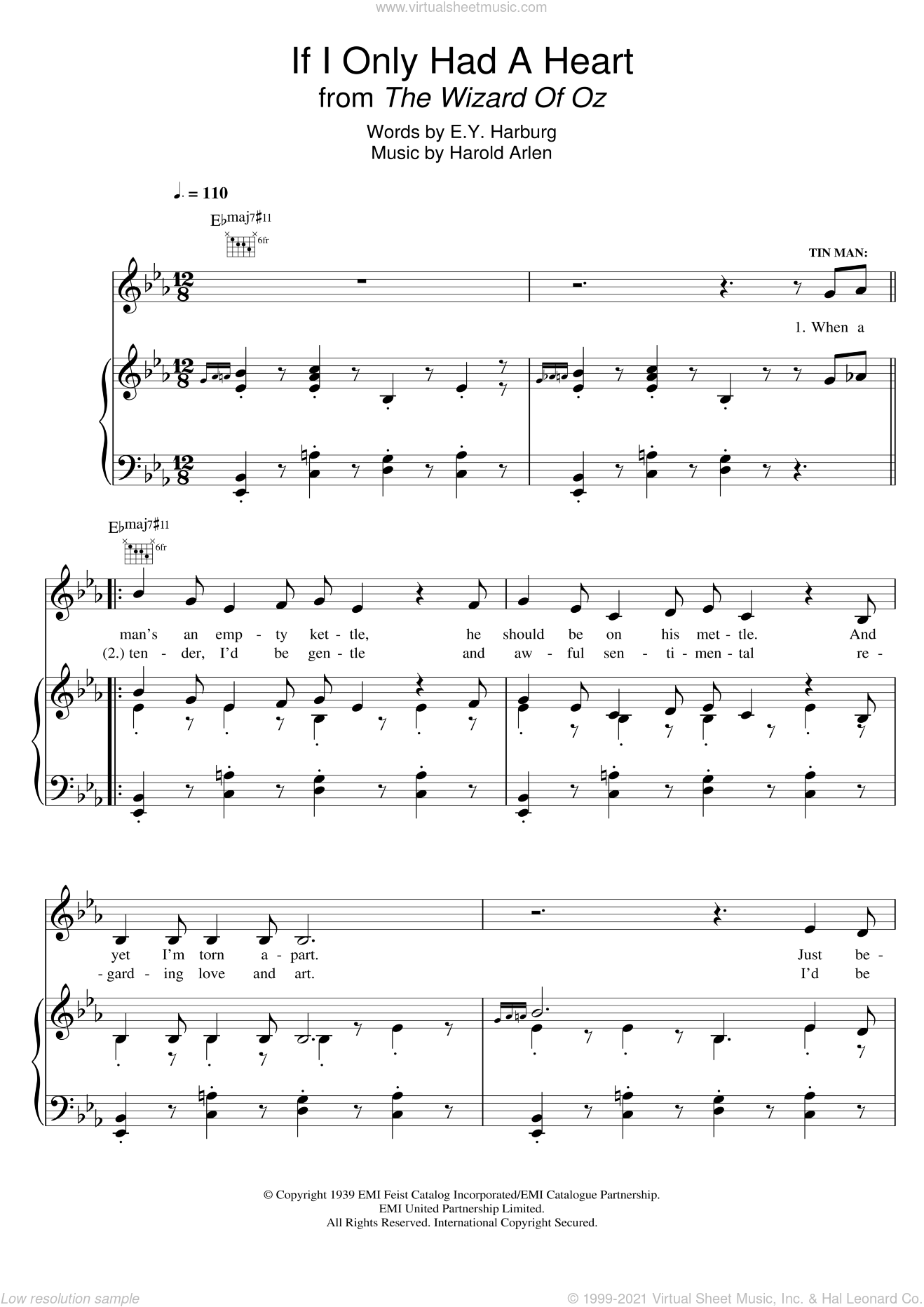 If I Only Had A Heart (from 'The Wizard Of Oz') sheet music for voice, piano or guitar by Harold Arlen and E.Y. Harburg, intermediate voice, piano or guitar. Score Image Preview.