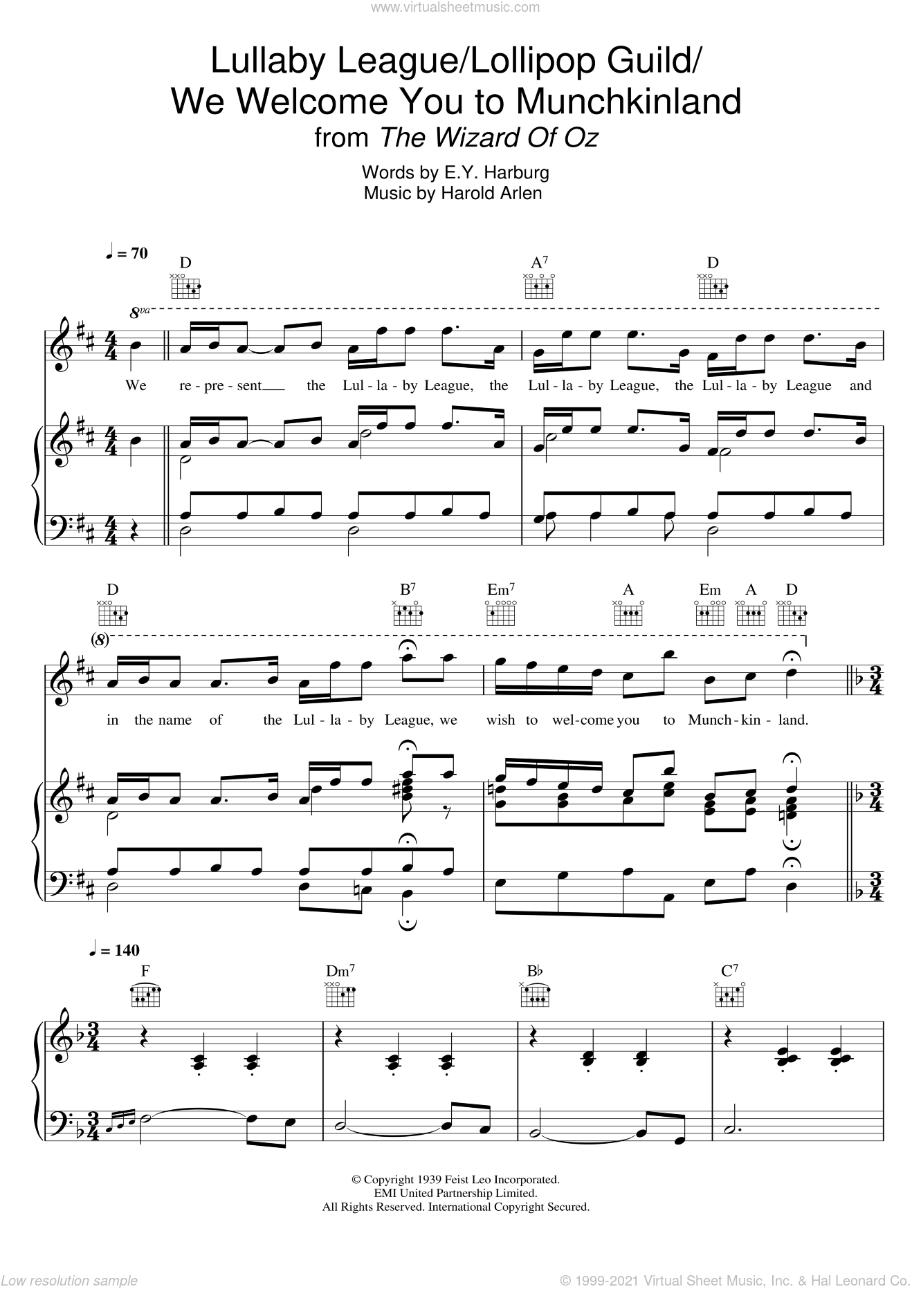 Lullaby League/Lollipop Guild/We Welcome You To Munchkinland (from 'The Wizard Of Oz') sheet music for voice, piano or guitar by Harold Arlen and E.Y. Harburg, intermediate. Score Image Preview.