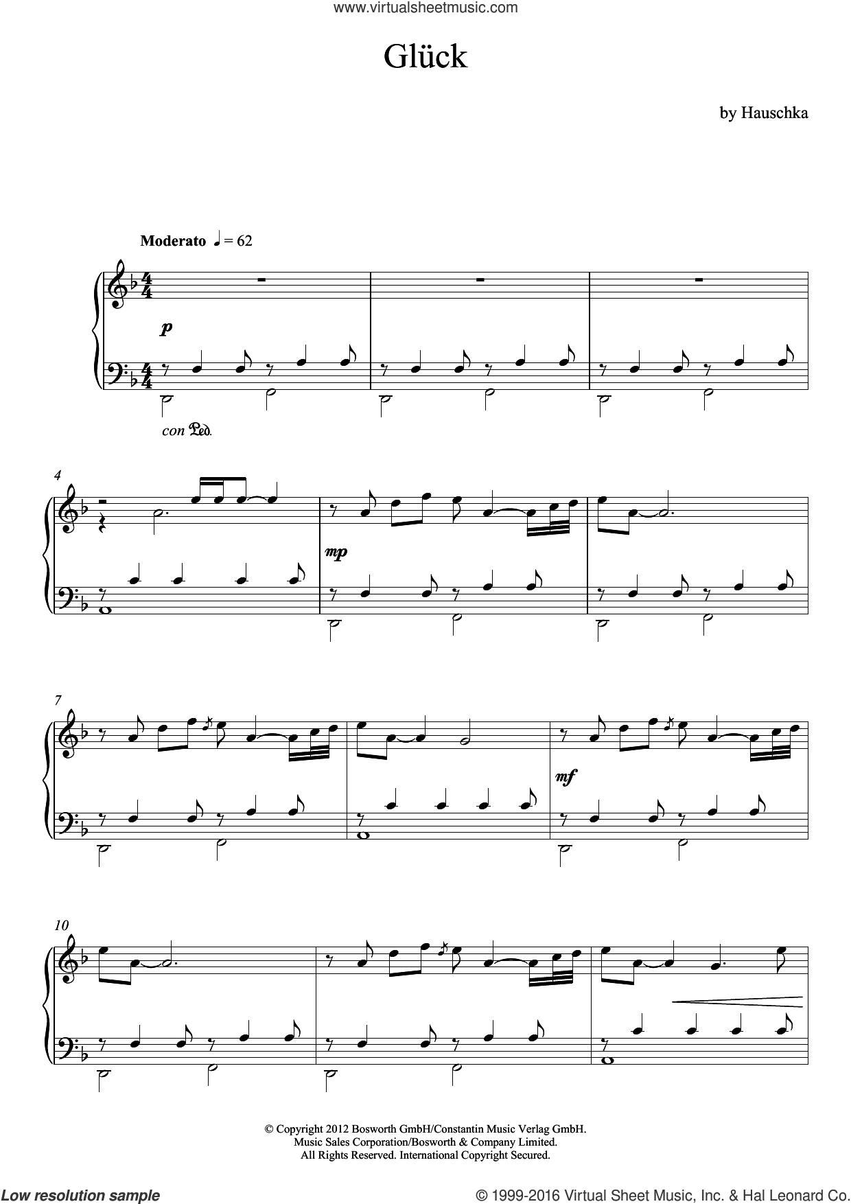 Glueck (Theme) sheet music for piano solo by Volker Bertelmann and Hauschka. Score Image Preview.