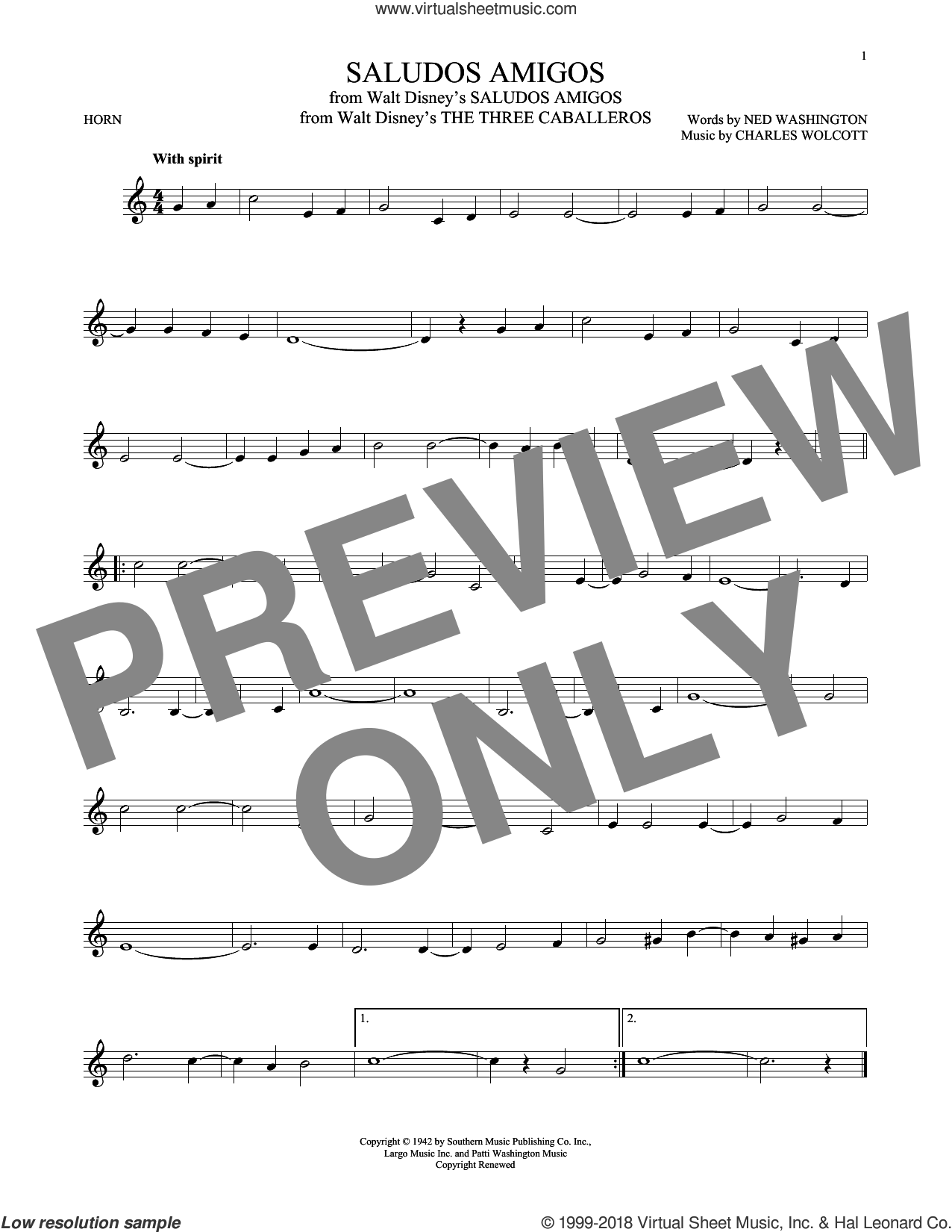 Saludos Amigos sheet music for horn solo by Ned Washington and Charles Wolcott. Score Image Preview.