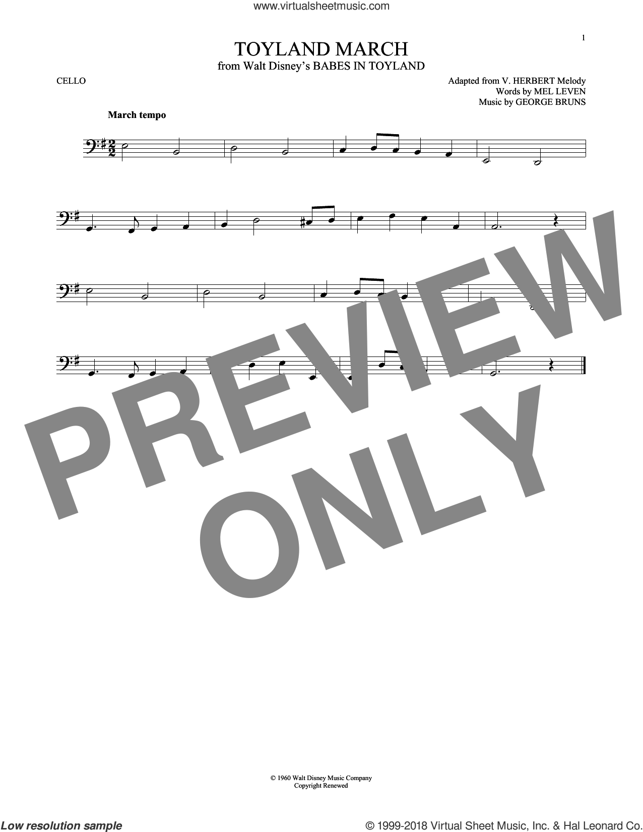 Toyland March sheet music for cello solo by George Bruns and Mel Leven, intermediate skill level