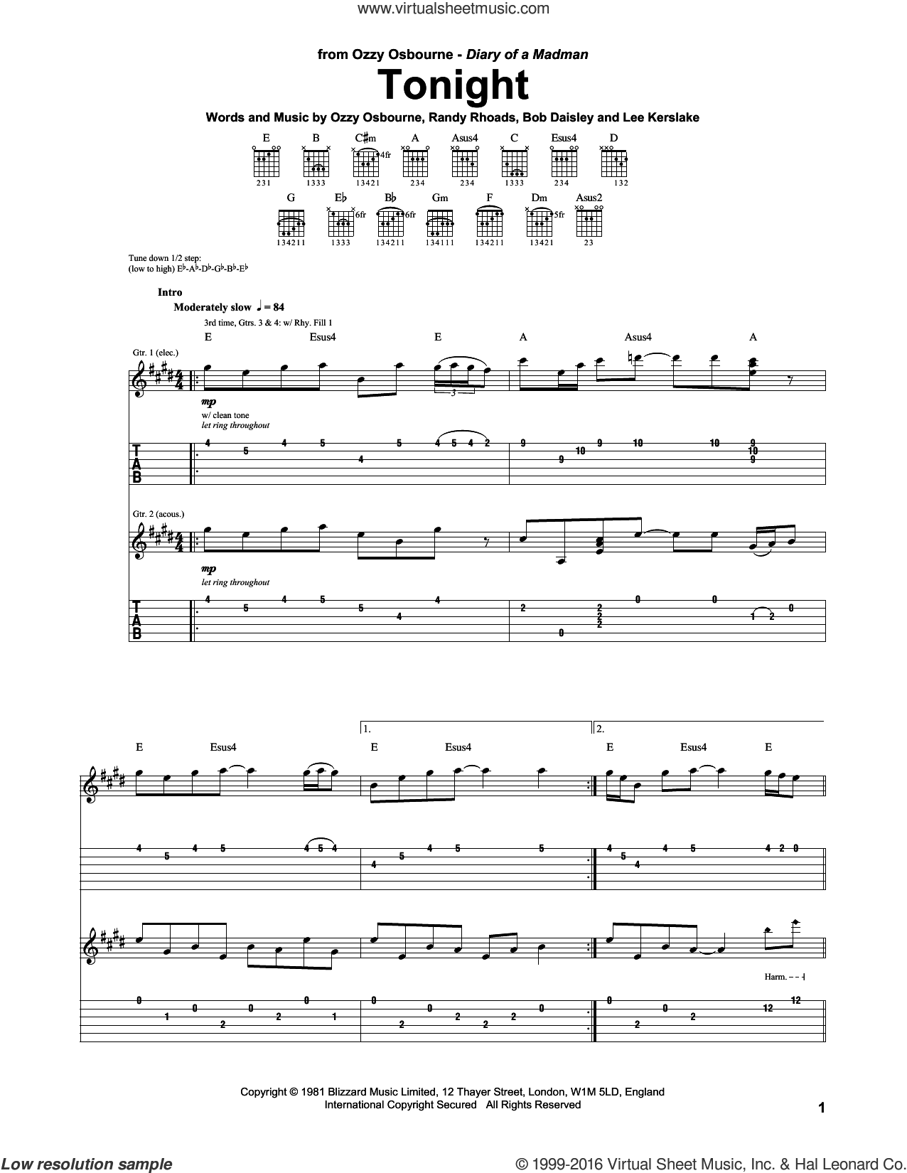 Tonight sheet music for guitar (tablature) by Ozzy Osbourne and Randy Rhoads, intermediate guitar (tablature). Score Image Preview.