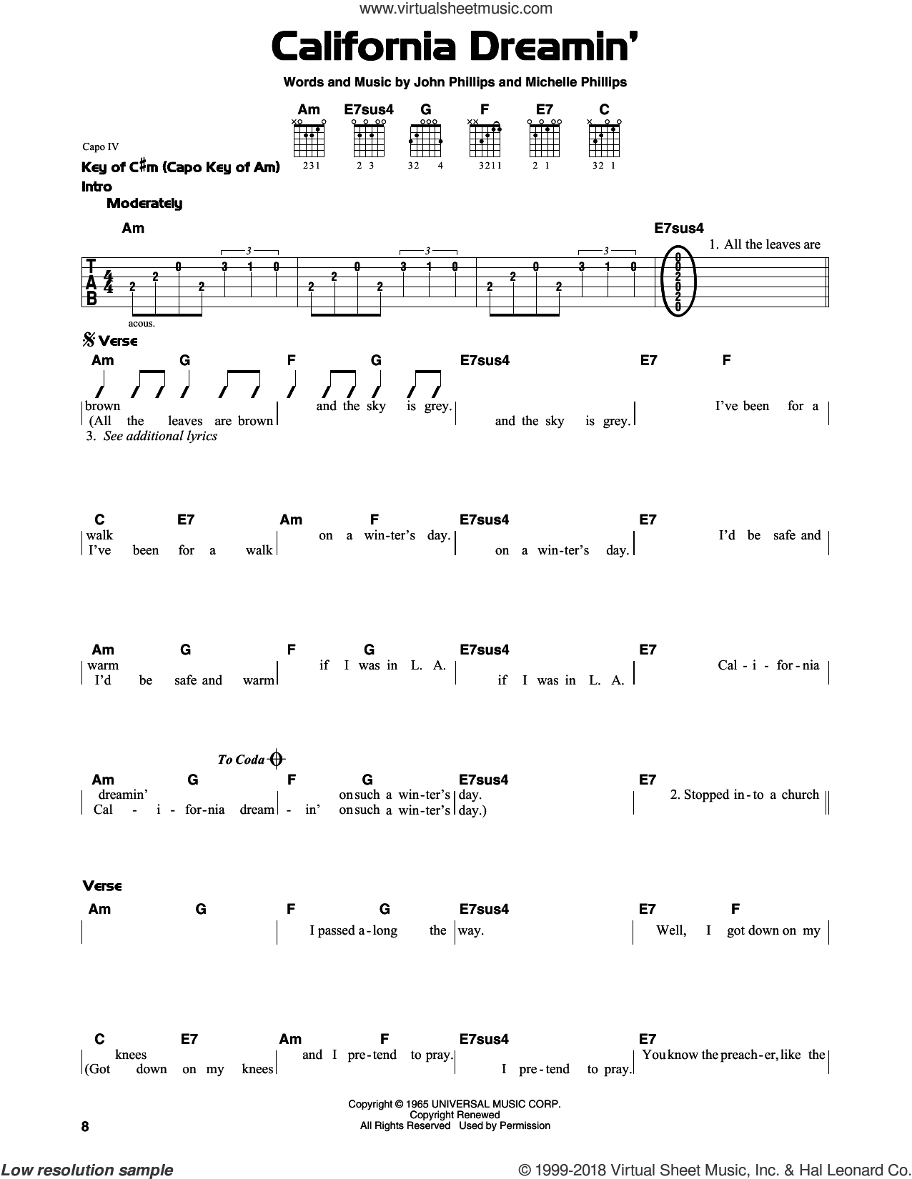 California Dreamin' sheet music for guitar solo (lead sheet) by Michelle Phillips, The Mamas & The Papas and John Phillips. Score Image Preview.