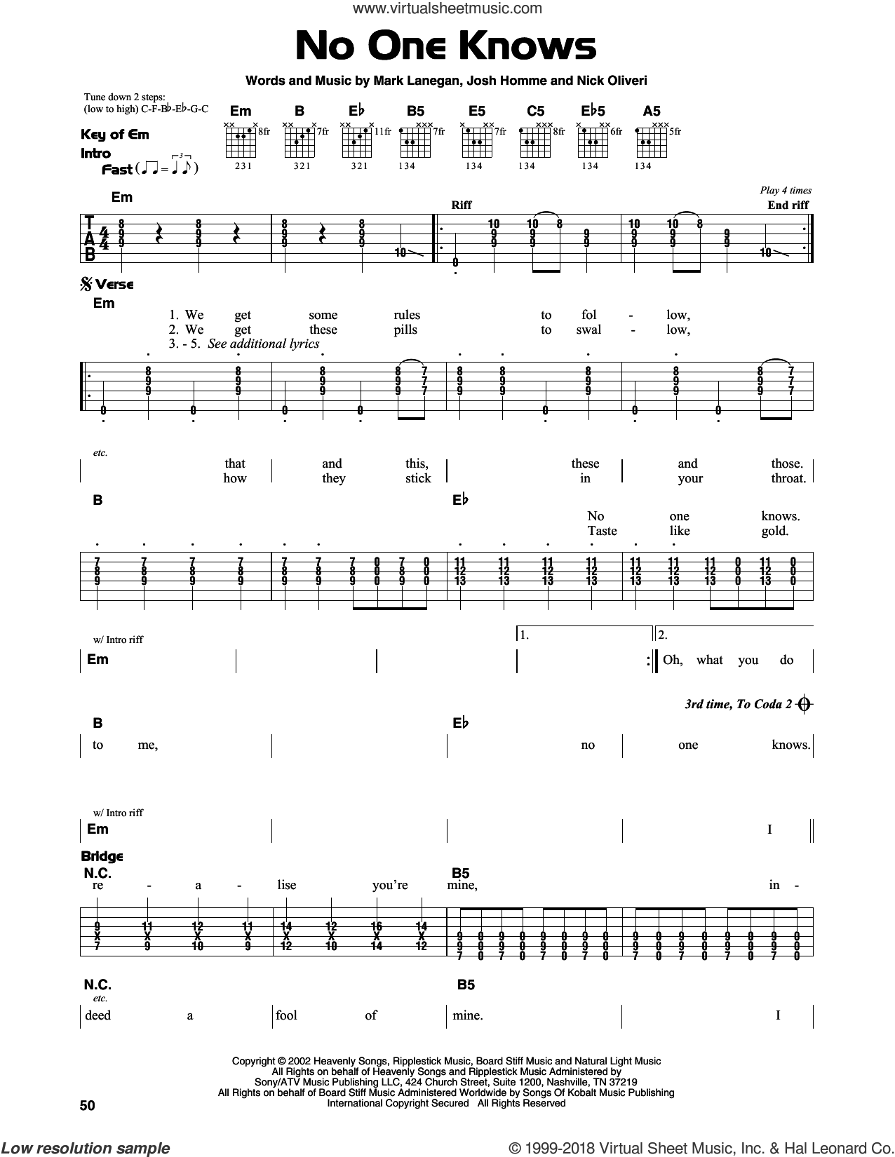 No One Knows sheet music for guitar solo (lead sheet) by Queens Of The Stone Age, Josh Homme, Mark Lanegan and Nick Oliveri, intermediate guitar (lead sheet)