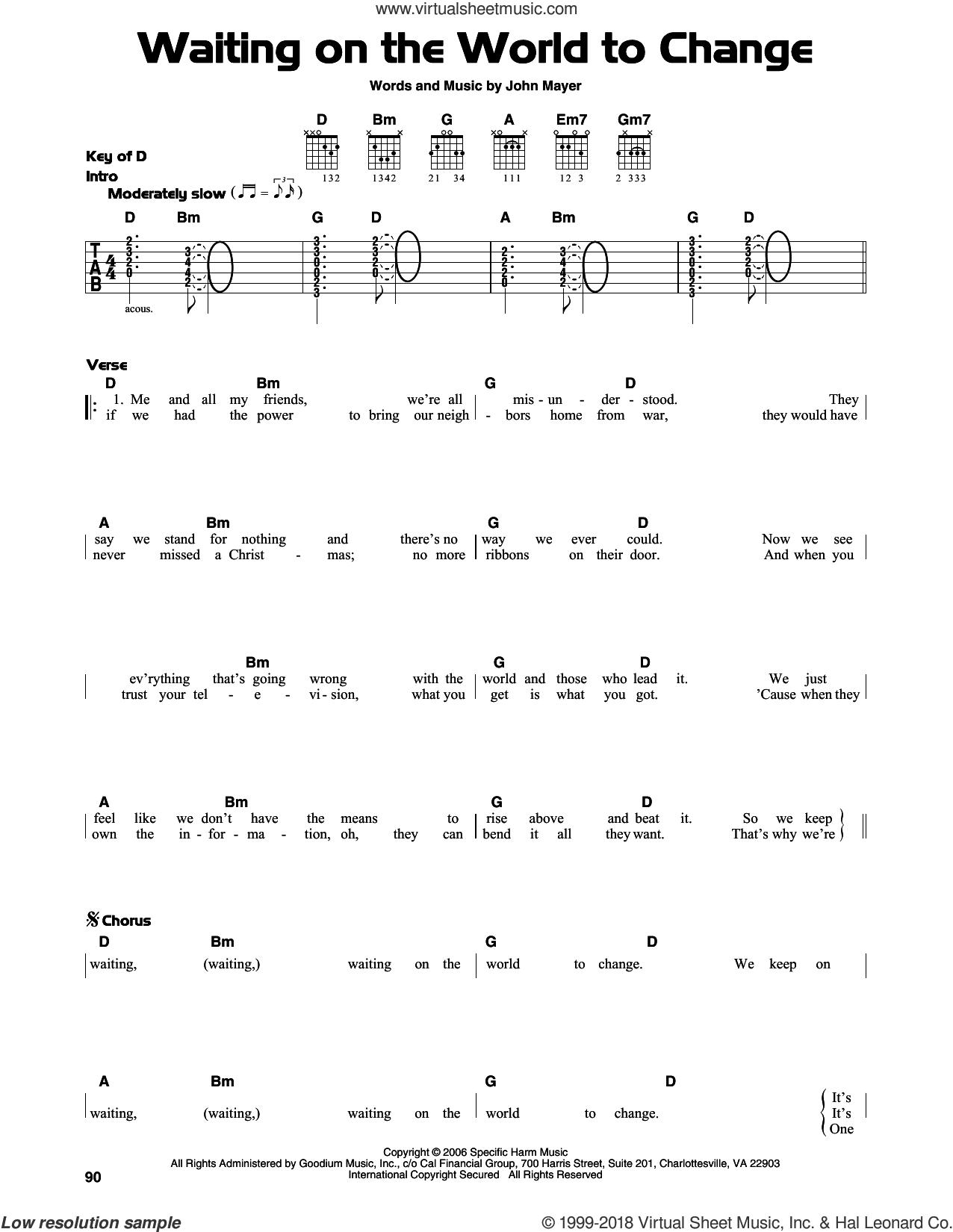 Waiting On The World To Change sheet music for guitar solo (lead sheet) by John Mayer, intermediate guitar (lead sheet)