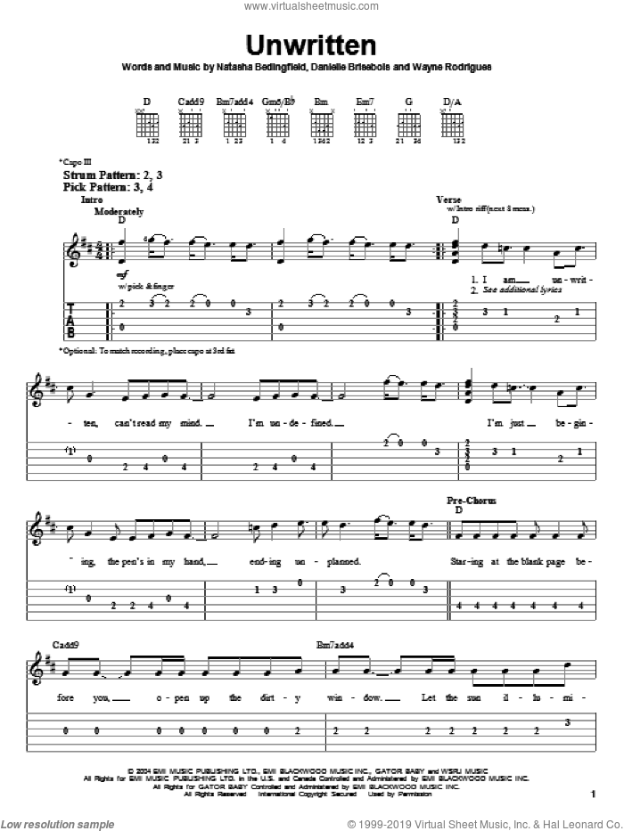 Unwritten sheet music for guitar solo (easy tablature) by Wayne Rodrigues, Danielle Brisebois and Natasha Bedingfield. Score Image Preview.