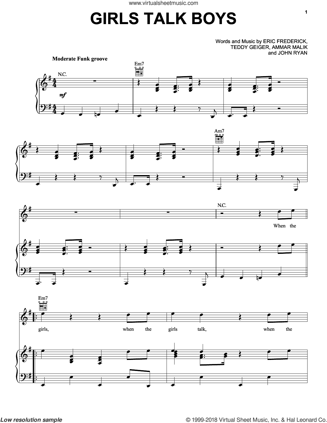 Girls Talk Boys sheet music for voice, piano or guitar by Teddy Geiger, Ammar Malik and John Ryan. Score Image Preview.