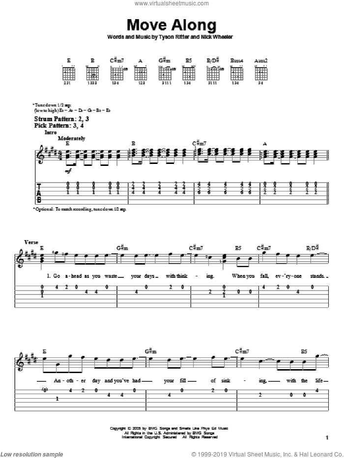 Move Along sheet music for guitar solo (easy tablature) by The All-American Rejects, Nick Wheeler and Tyson Ritter, easy guitar (easy tablature)