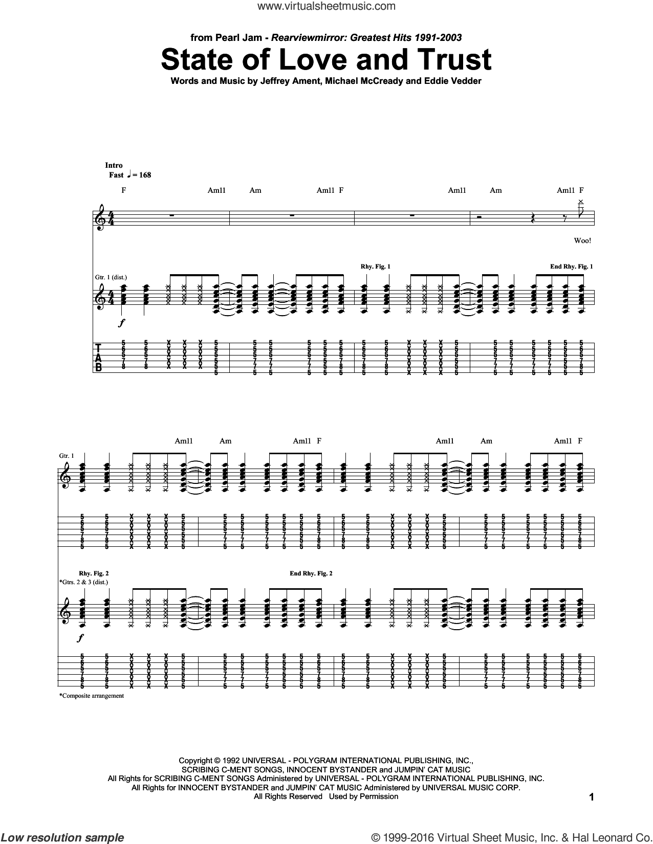 State Of Love And Trust sheet music for guitar (tablature) by Pearl Jam and Eddie Vedder. Score Image Preview.