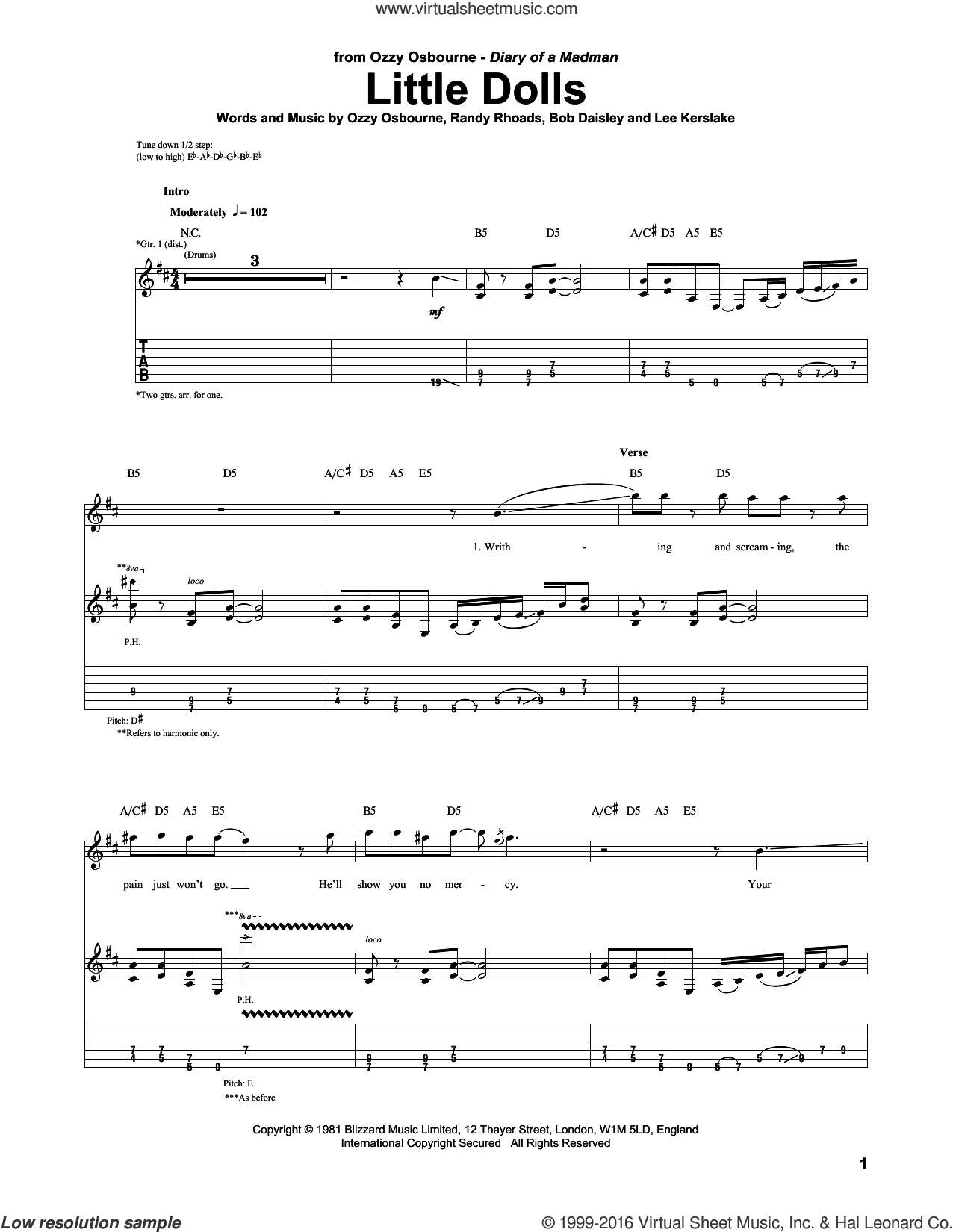 Little Dolls sheet music for guitar (tablature) by Ozzy Osbourne and Randy Rhoads. Score Image Preview.