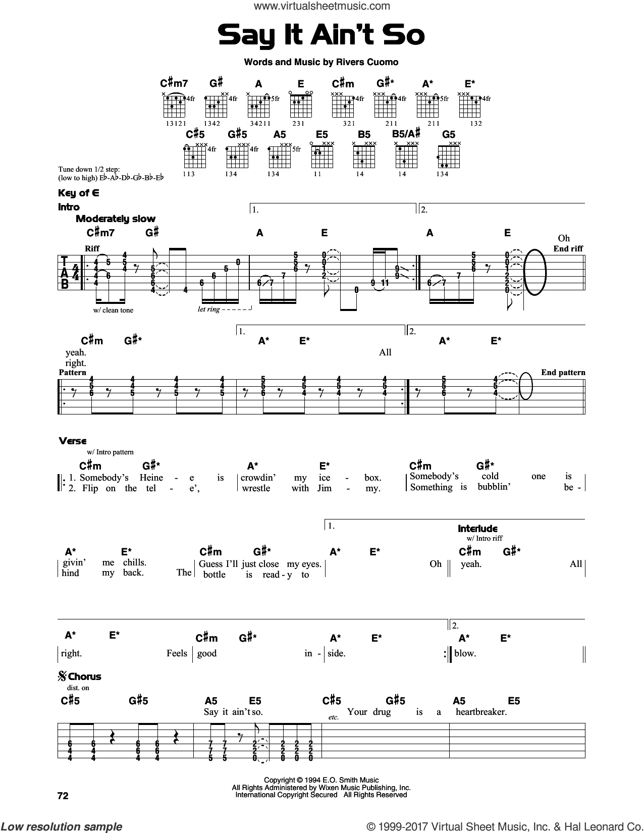 Weezer Say It Aint So Sheet Music For Guitar Solo Lead Sheet