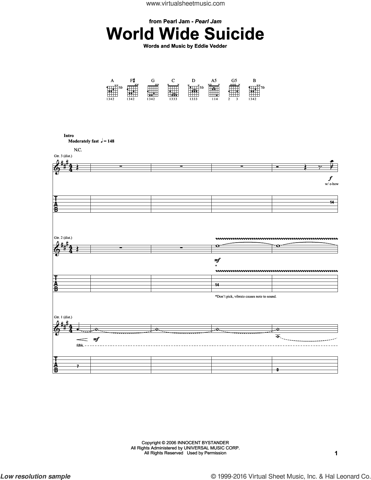 World Wide Suicide sheet music for guitar (tablature) by Eddie Vedder and Pearl Jam. Score Image Preview.