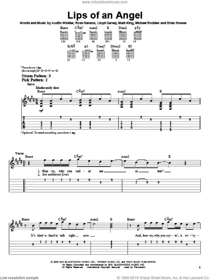 Lips Of An Angel sheet music for guitar solo (easy tablature) by Hinder, Jack Ingram, Austin Winkler, Brian Howes, Lloyd Garvey, Mark King, Michael Rodden and Ross Hanson, easy guitar (easy tablature)