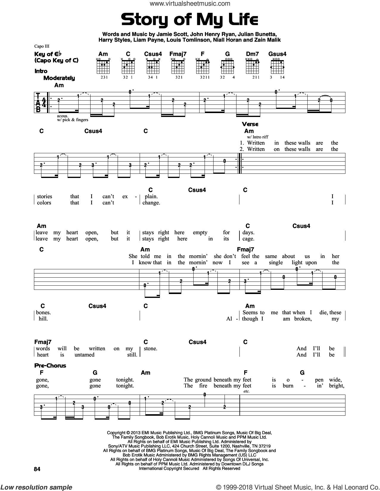 Story Of My Life sheet music for guitar solo (lead sheet) by One Direction, Harry Styles, Jamie Scott, Julian Bunetta, Liam Payne, Louis Tomlinson and Niall Horan. Score Image Preview.