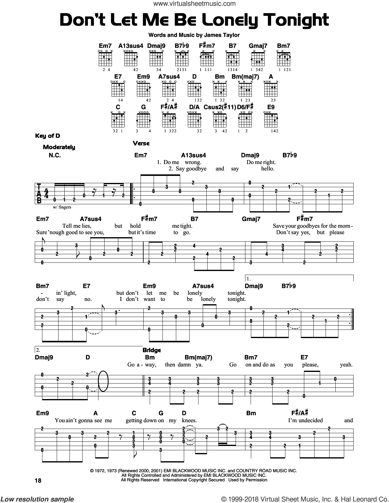 Don't Let Me Be Lonely Tonight sheet music for guitar solo (lead sheet) by James Taylor, intermediate guitar (lead sheet)