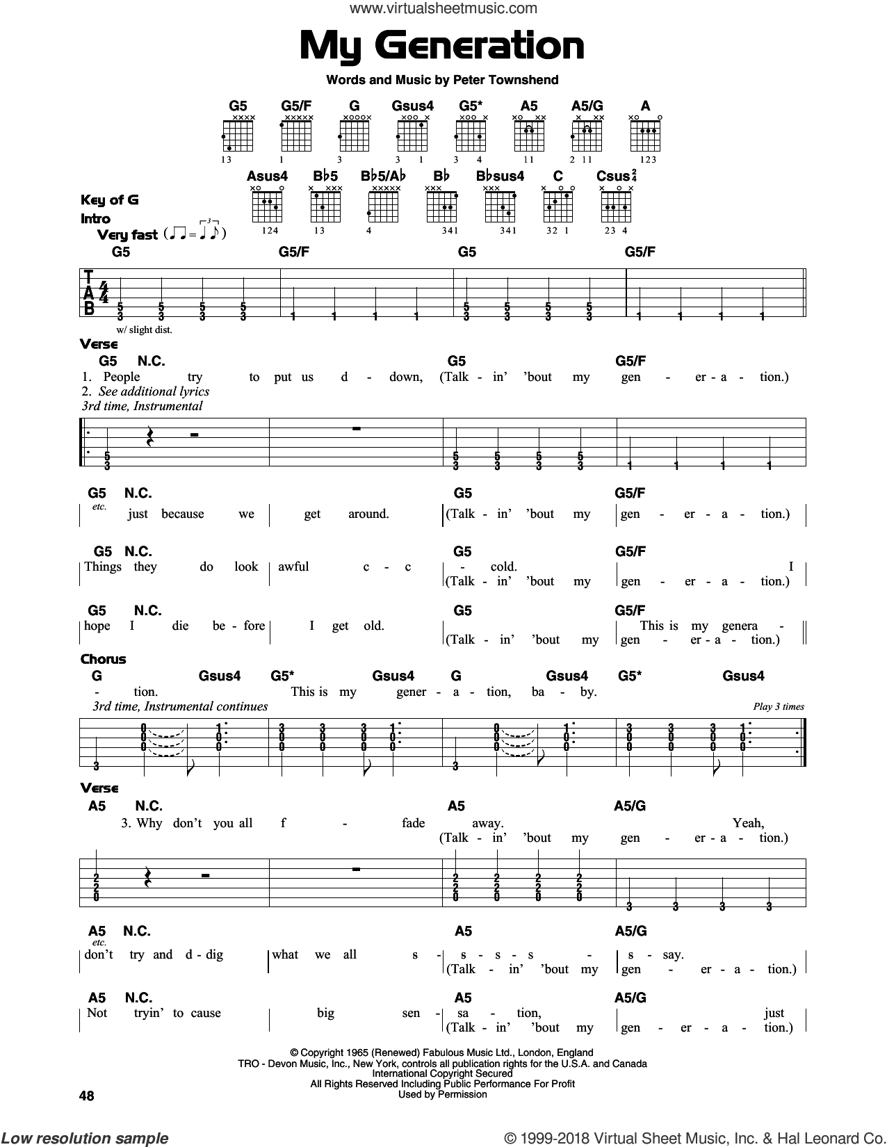 My Generation sheet music for guitar solo (lead sheet) by Pete Townshend and The Who. Score Image Preview.