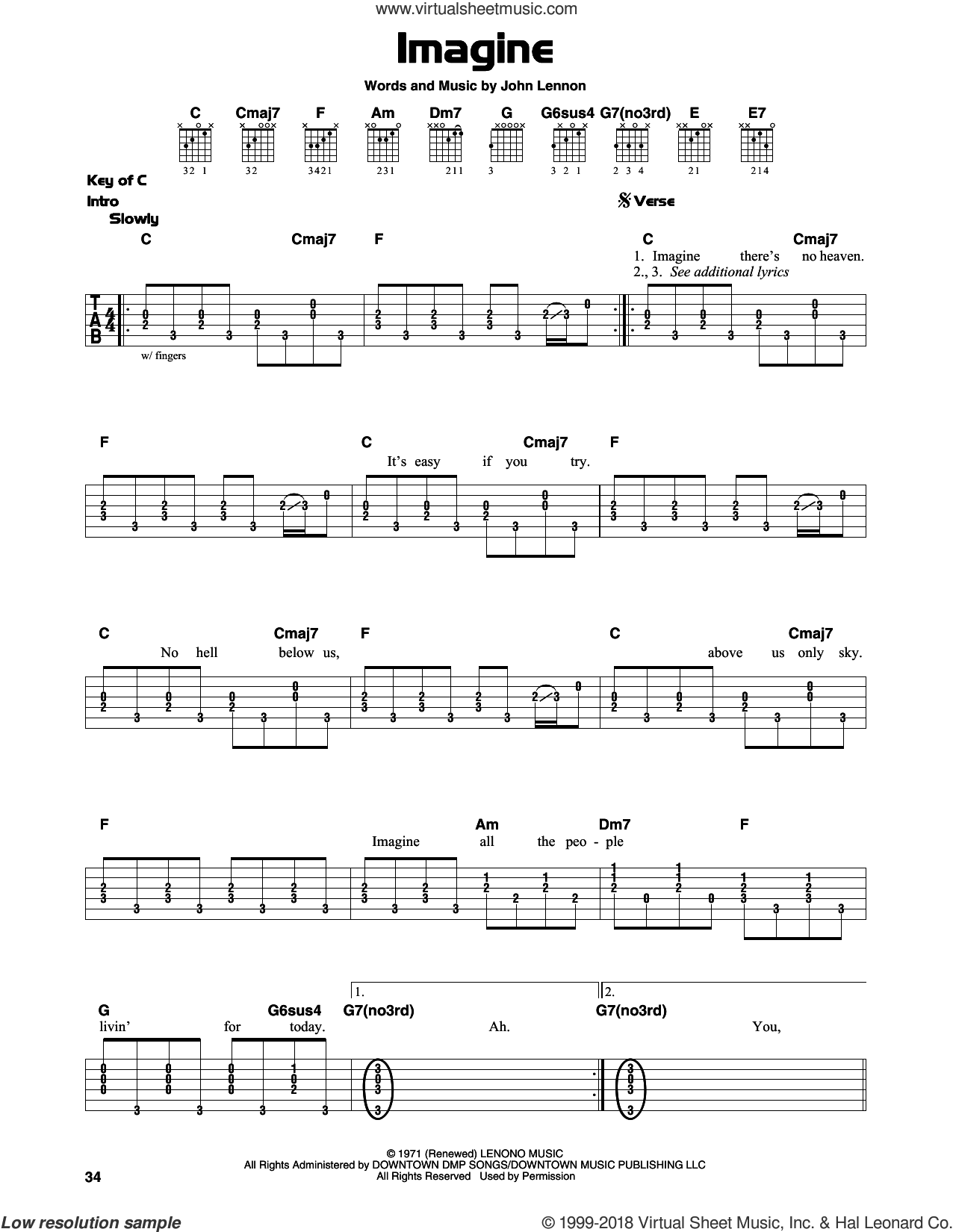 Imagine sheet music for guitar solo (lead sheet) by John Lennon and John Lennon and the Plastic Ono Band, intermediate guitar (lead sheet)