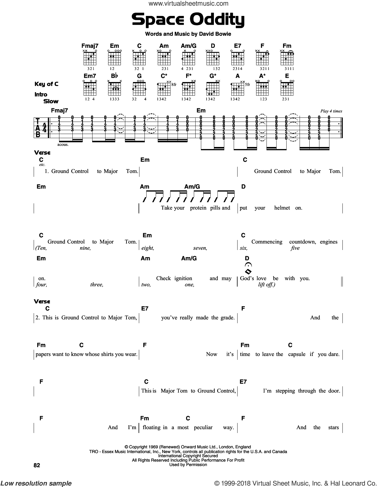 Space Oddity sheet music for guitar solo (lead sheet) by David Bowie, intermediate guitar (lead sheet). Score Image Preview.