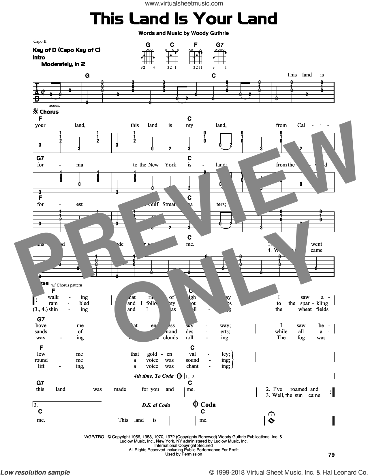 This Land Is Your Land sheet music for guitar solo (lead sheet) by Woody Guthrie, Peter, Paul & Mary and Woody & Arlo Guthrie, intermediate guitar (lead sheet). Score Image Preview.