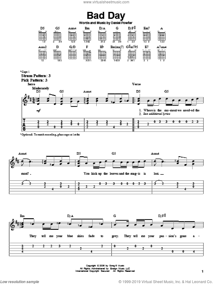 Bad Day sheet music for guitar solo (easy tablature) by Daniel Powter, easy guitar (easy tablature)