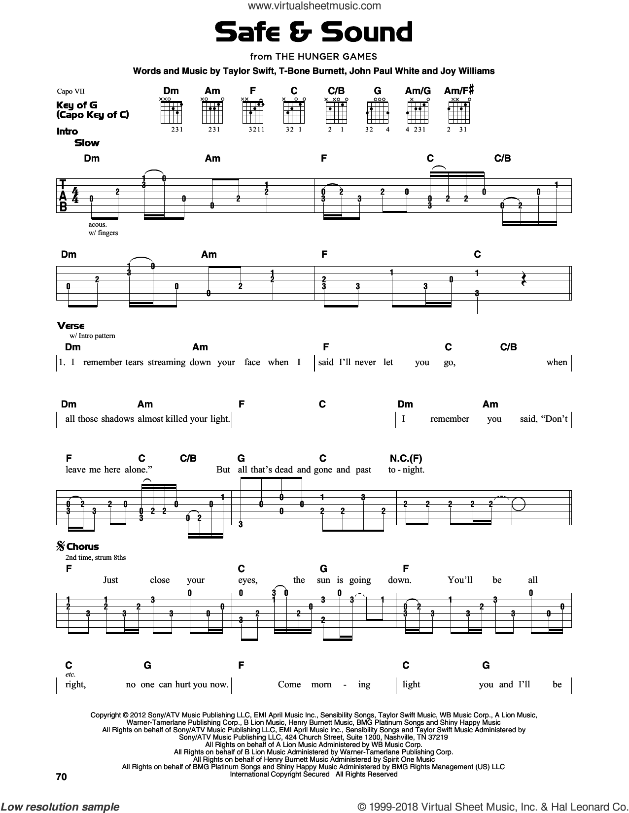 Safe and Sound sheet music for guitar solo (lead sheet) by Taylor Swift, John Paul White, Joy Williams and T-Bone Burnett. Score Image Preview.