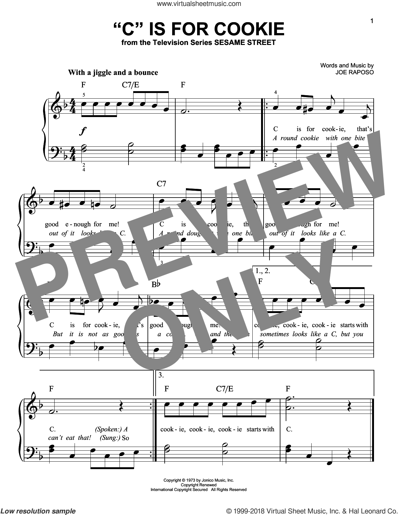 'C' Is For Cookie sheet music for piano solo by The Cookie Monster and Joe Raposo, beginner skill level