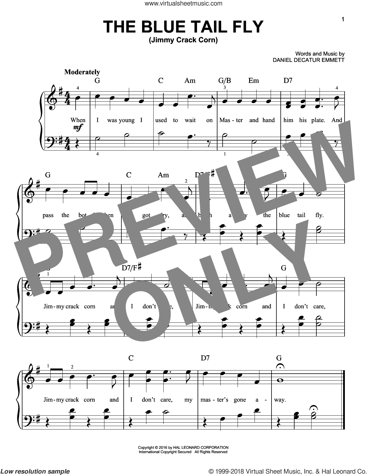 The Blue Tail Fly (Jimmy Crack Corn) sheet music for piano solo by Daniel Decatur Emmett. Score Image Preview.