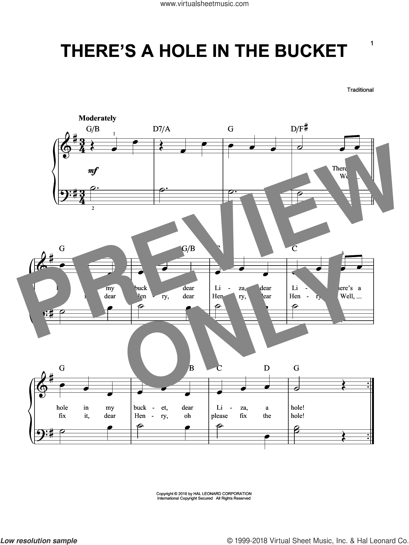 There's A Hole In The Bucket sheet music for piano solo. Score Image Preview.