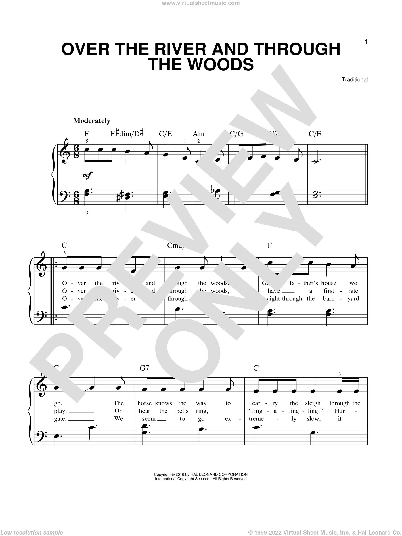 Over The River And Through The Woods sheet music for piano solo, easy skill level