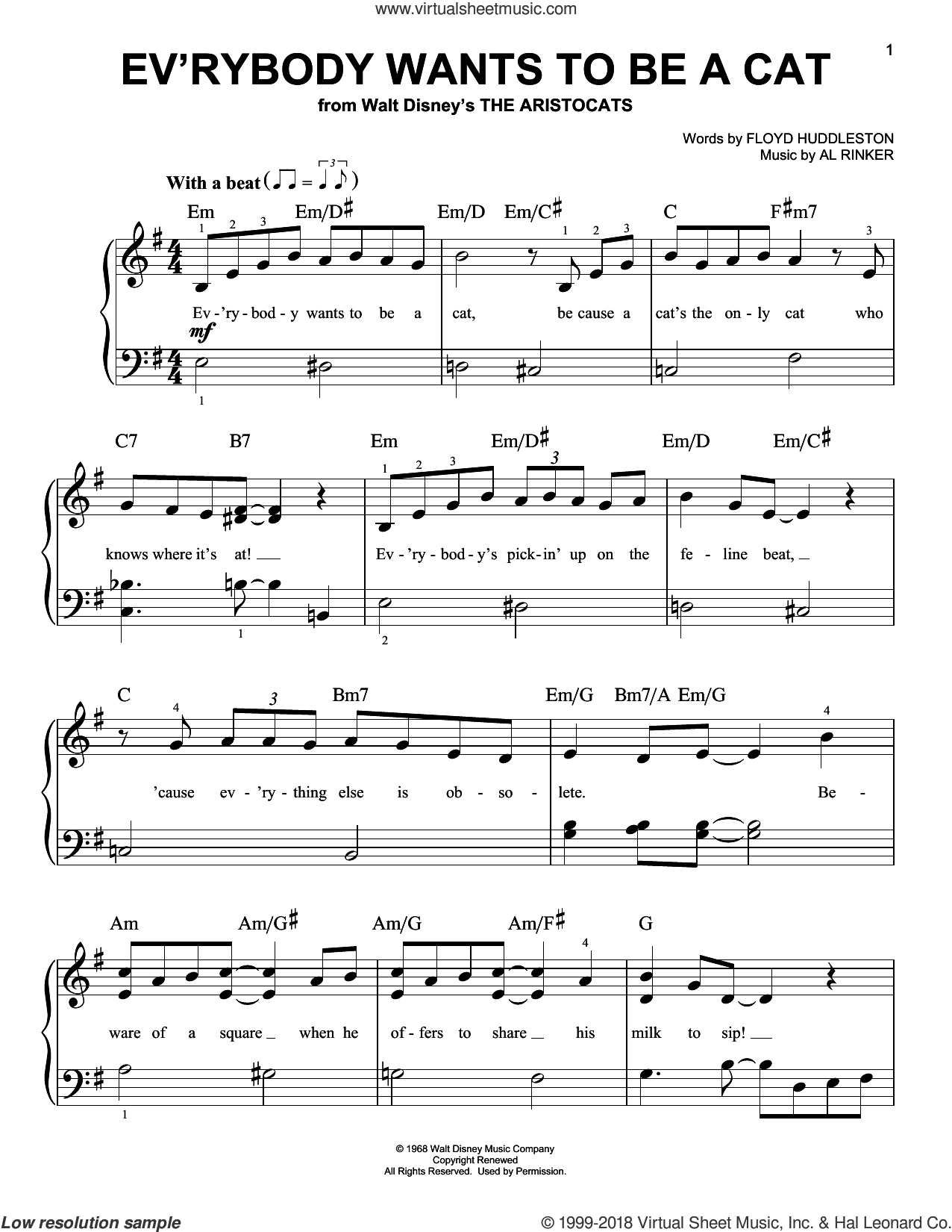 Ev'rybody Wants To Be A Cat sheet music for piano solo by Al Rinker and Floyd Huddleston. Score Image Preview.