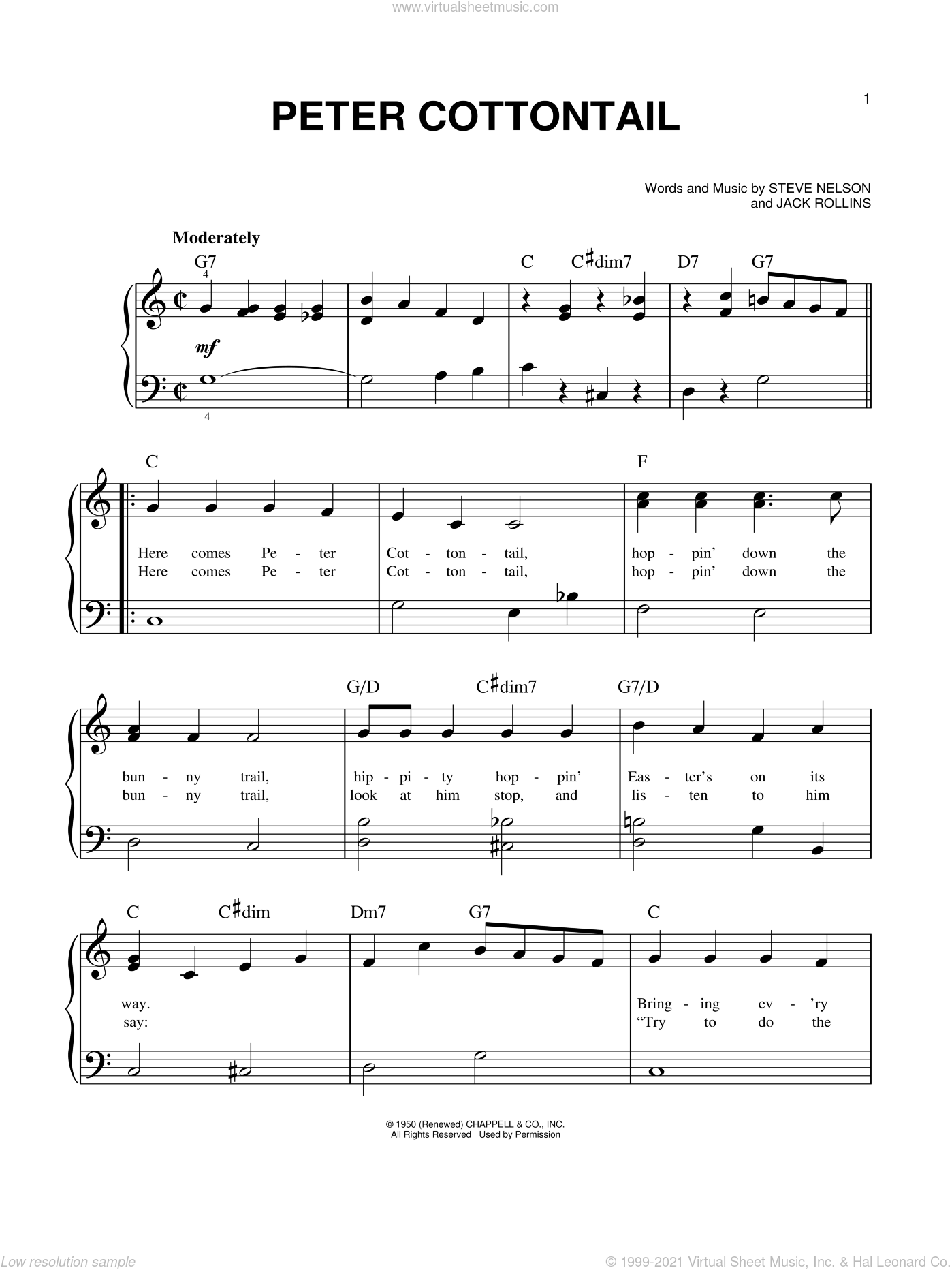 Peter Cottontail sheet music for piano solo by Jack Rollins and Steve Nelson. Score Image Preview.