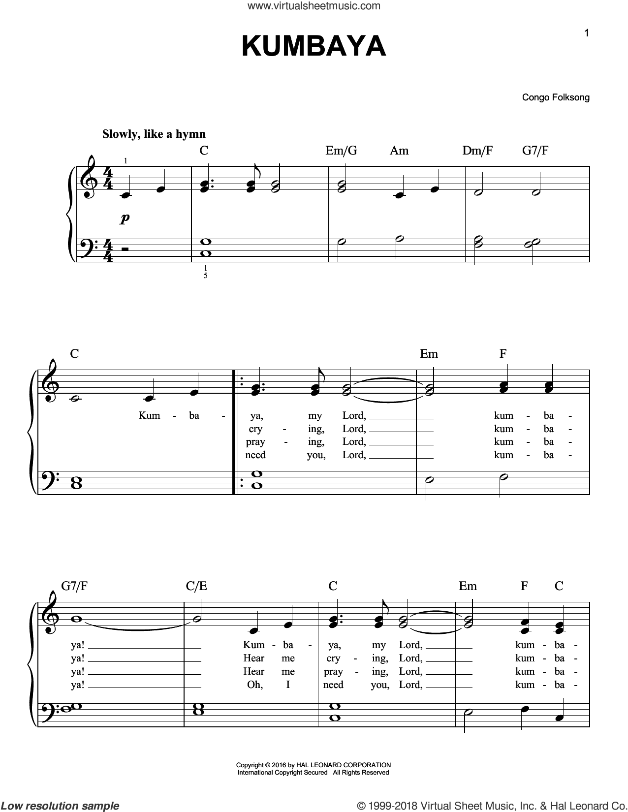 Kumbaya sheet music for piano solo, easy piano. Score Image Preview.