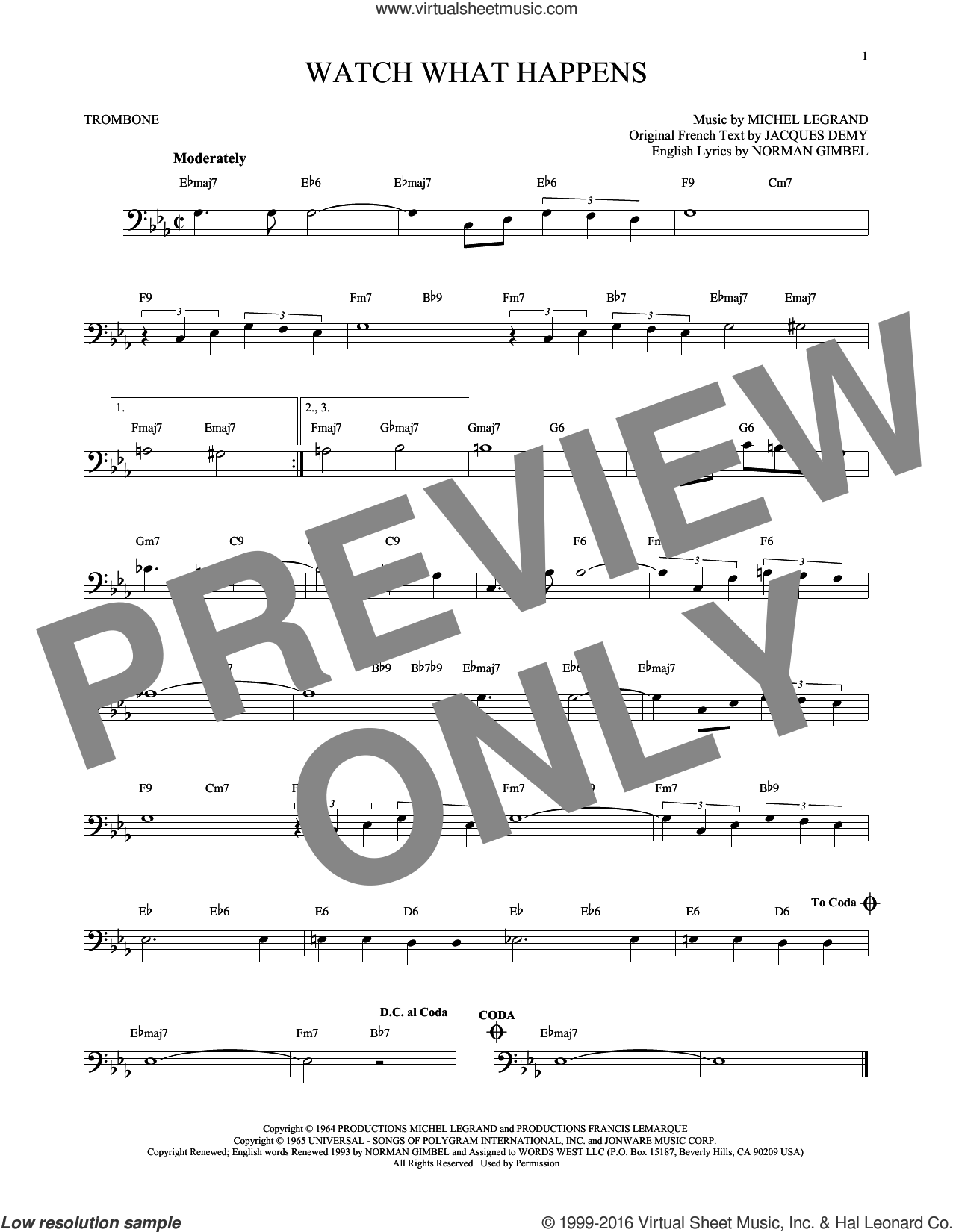 Watch What Happens sheet music for trombone solo by Norman Gimbel and Michel LeGrand, intermediate skill level