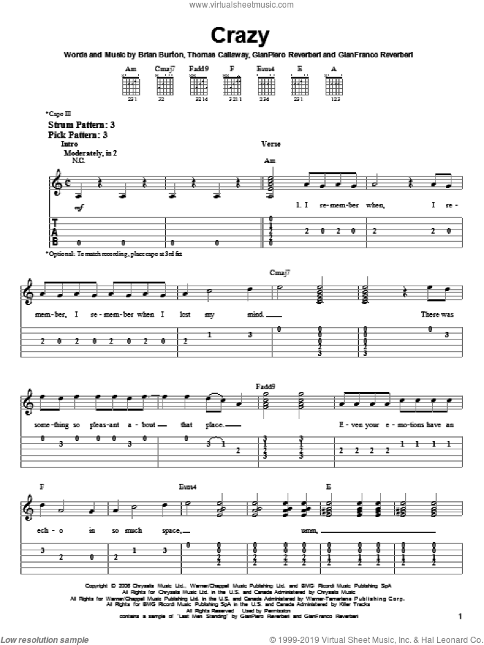 Barkley Crazy Sheet Music For Guitar Solo Easy Tablature