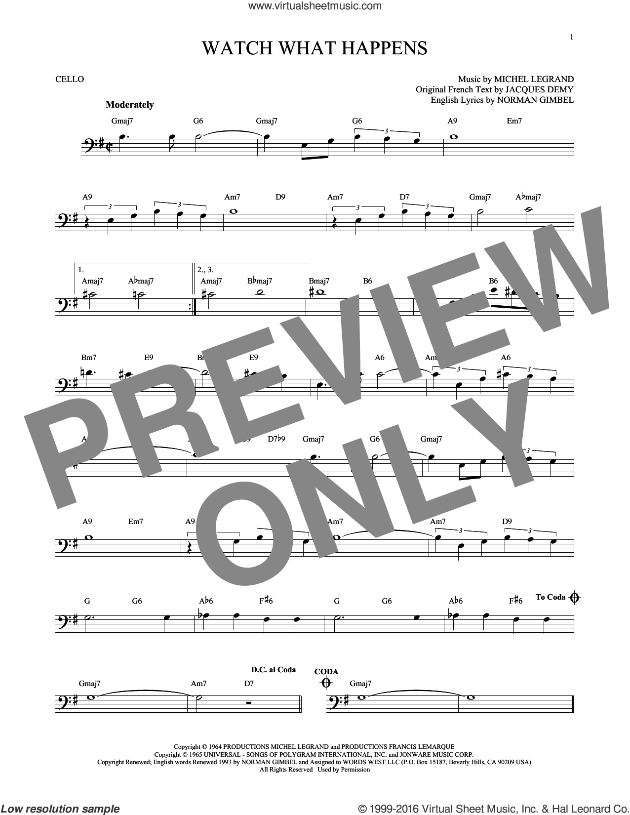 Watch What Happens sheet music for cello solo by Norman Gimbel and Michel LeGrand. Score Image Preview.