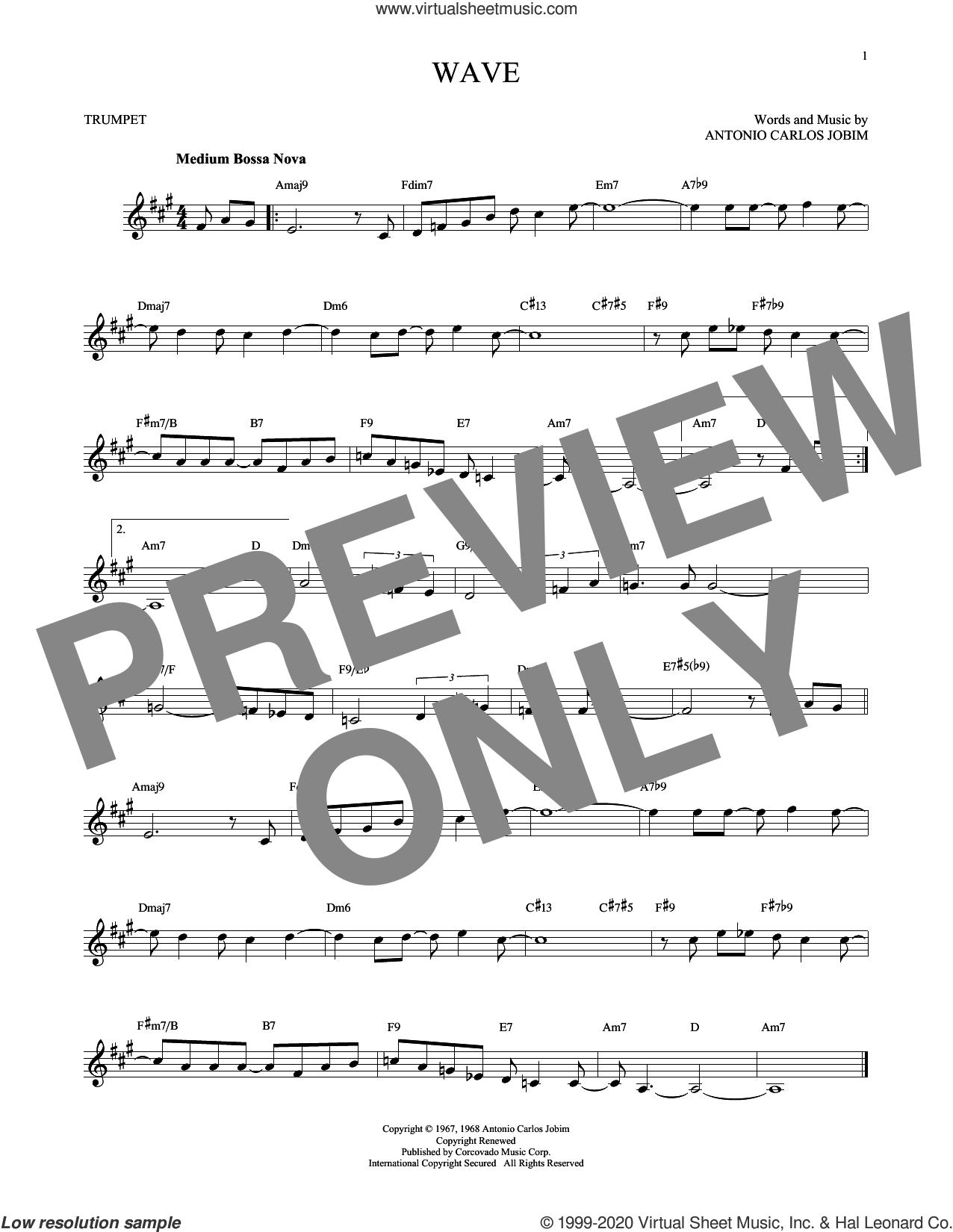 Wave sheet music for trumpet solo by Antonio Carlos Jobim, intermediate skill level