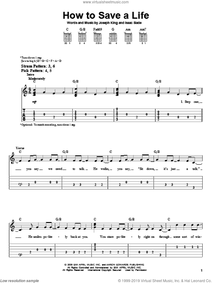 How To Save A Life sheet music for guitar solo (easy tablature) by Joseph King, The Fray and Isaac Slade. Score Image Preview.