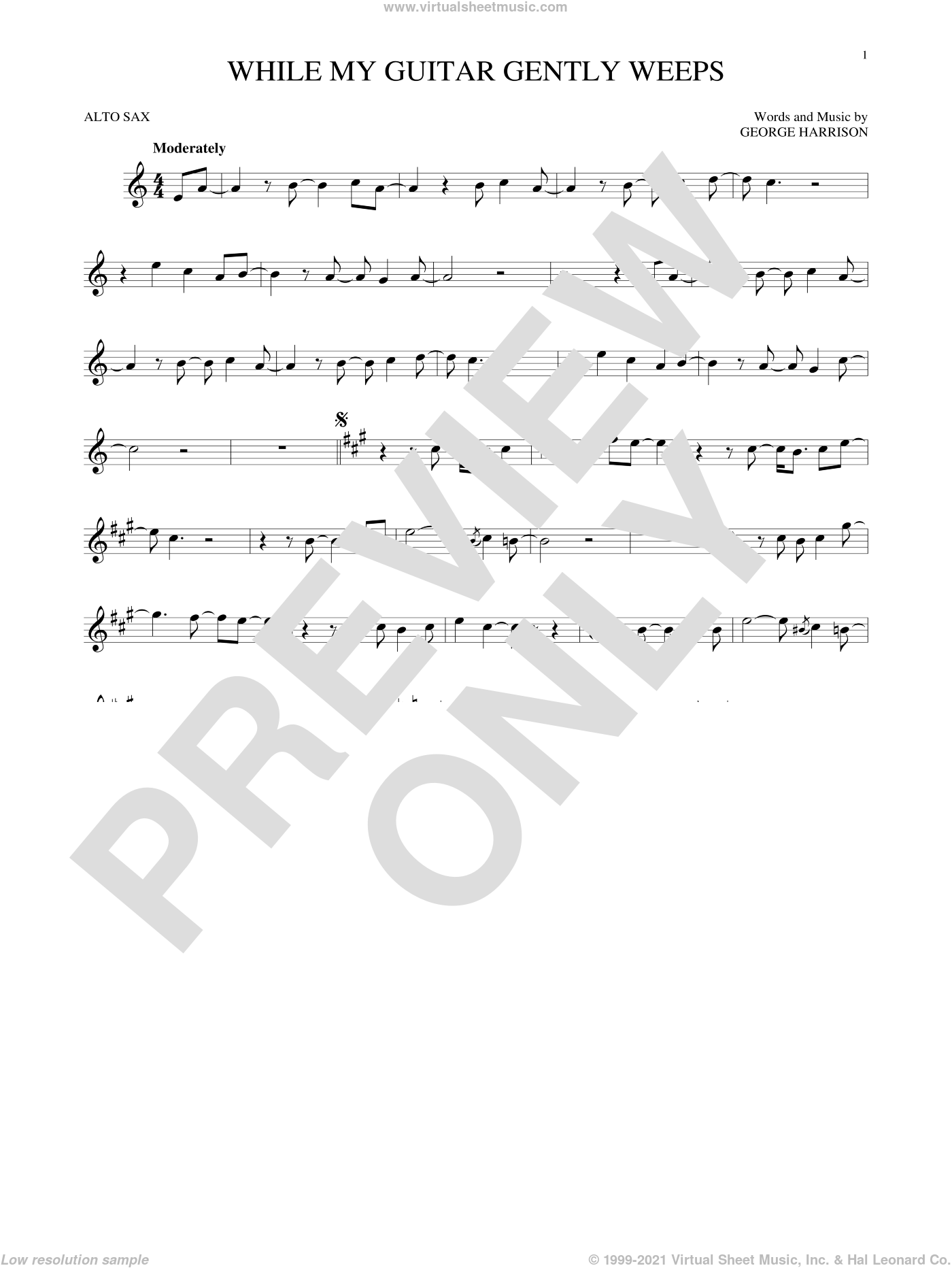 While My Guitar Gently Weeps sheet music for alto saxophone solo by The Beatles. Score Image Preview.
