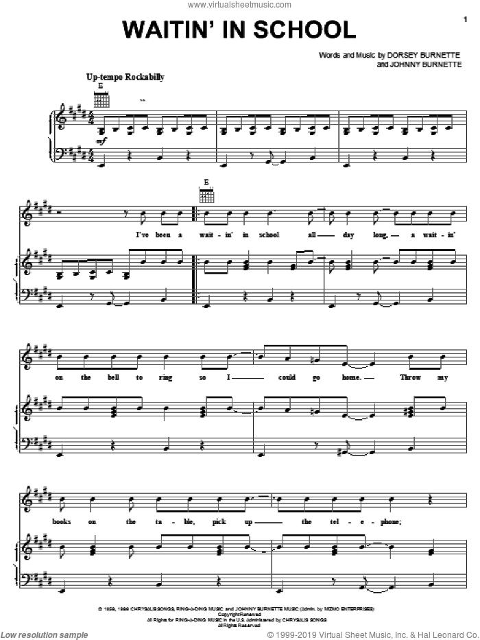 Waitin' In School sheet music for voice, piano or guitar by Johnny Burnette