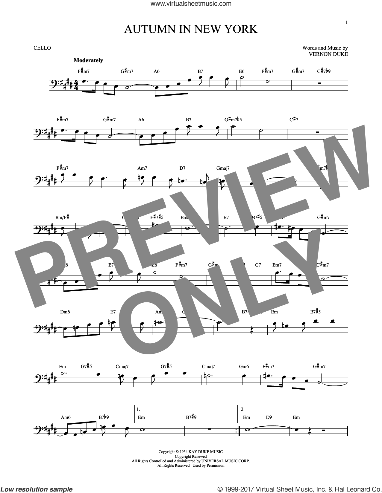 Autumn In New York sheet music for cello solo by Vernon Duke, Bud Powell and Jo Stafford, intermediate. Score Image Preview.