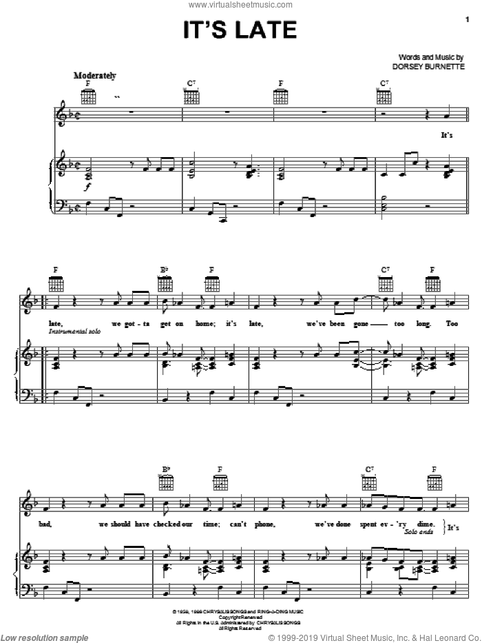 It's Late sheet music for voice, piano or guitar by Dorsey Burnette