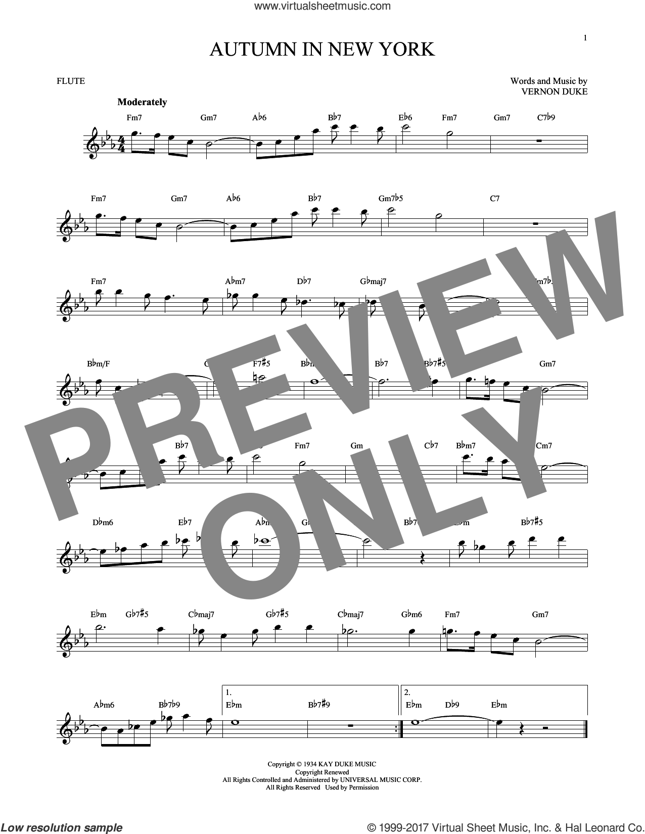 Autumn In New York sheet music for flute solo by Vernon Duke, Bud Powell and Jo Stafford, intermediate skill level