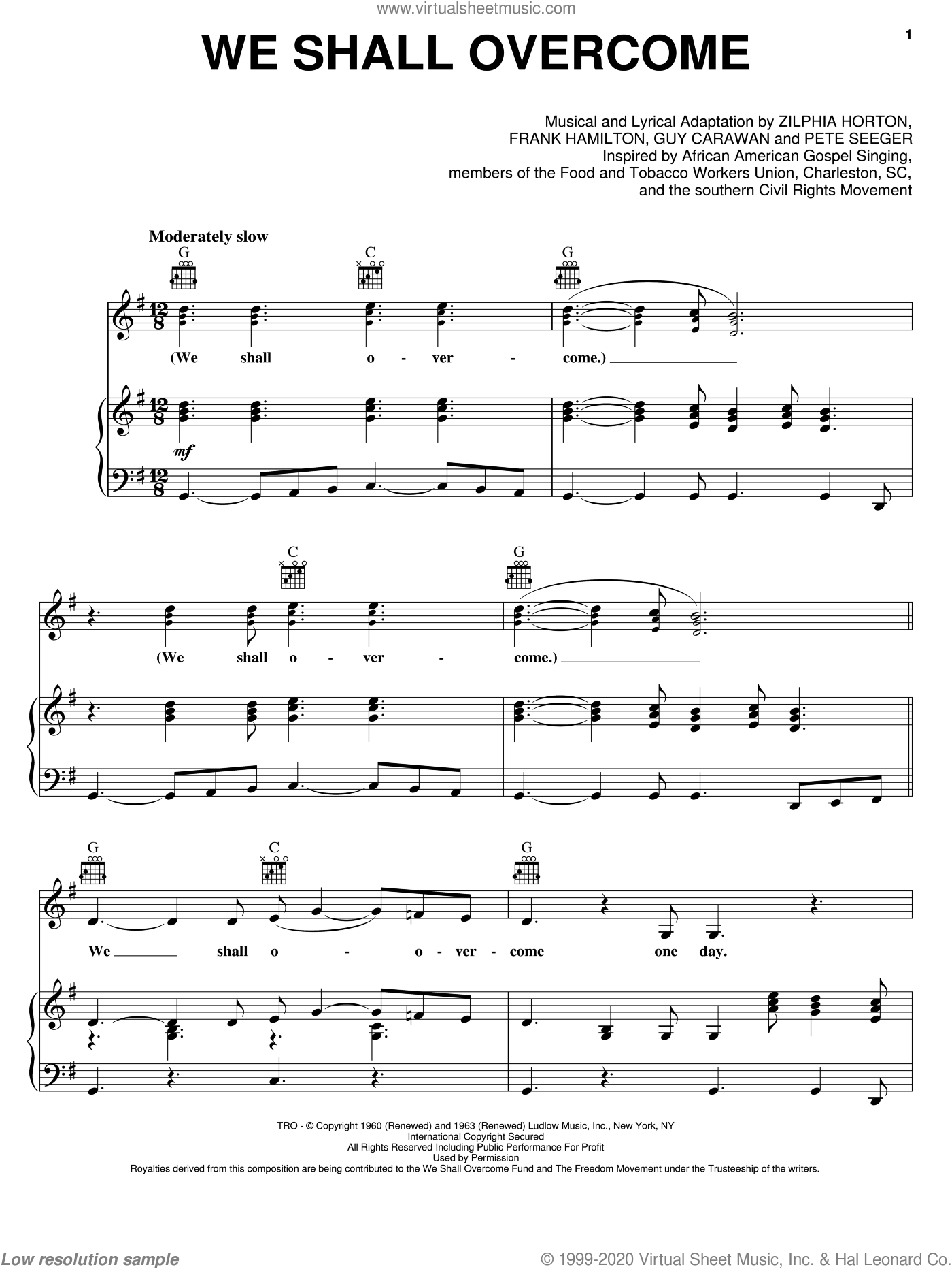 We Shall Overcome sheet music for voice, piano or guitar by Zilphia Horton