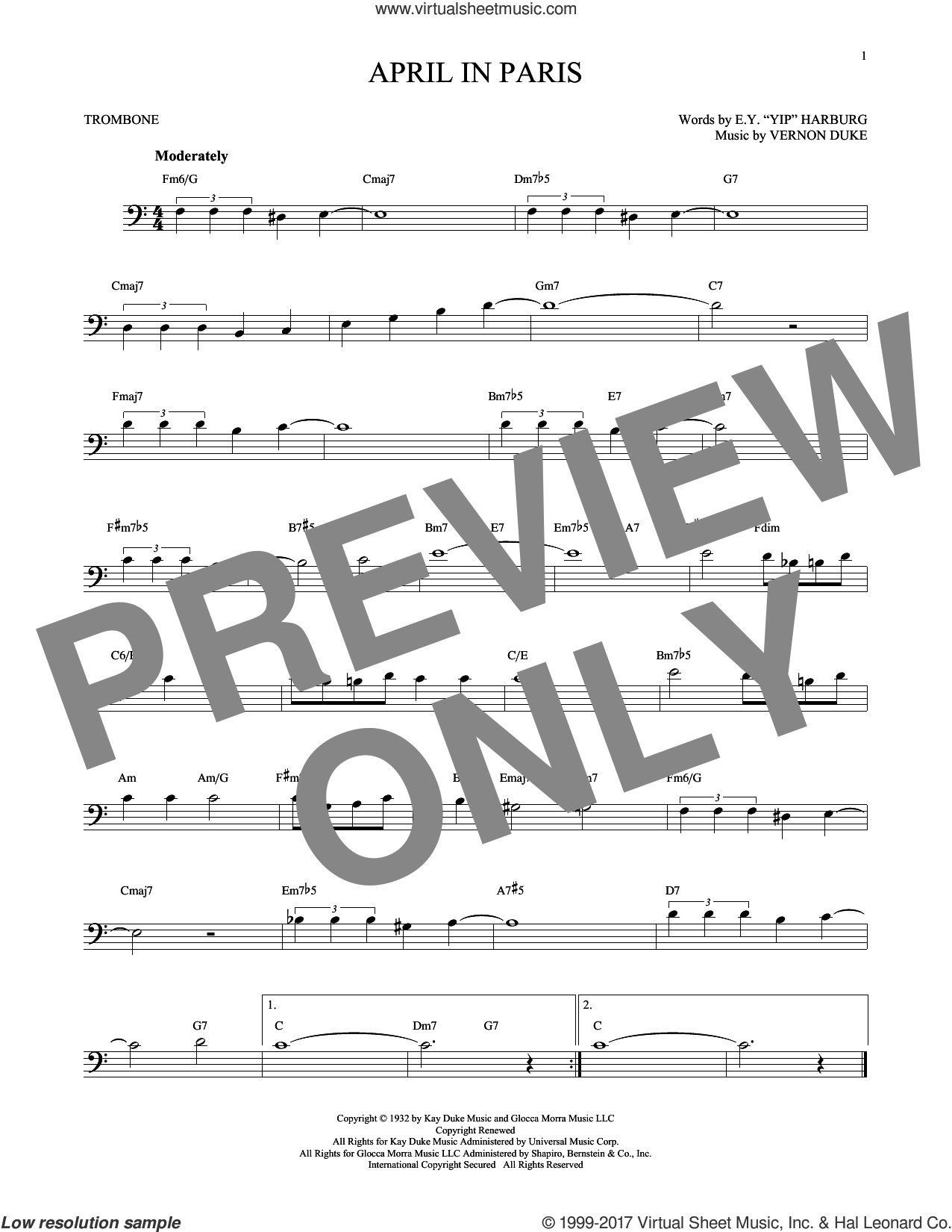 April In Paris sheet music for trombone solo by E.Y. Harburg, Coleman Hawkins, Count Basie, Modernaires and Vernon Duke, intermediate skill level