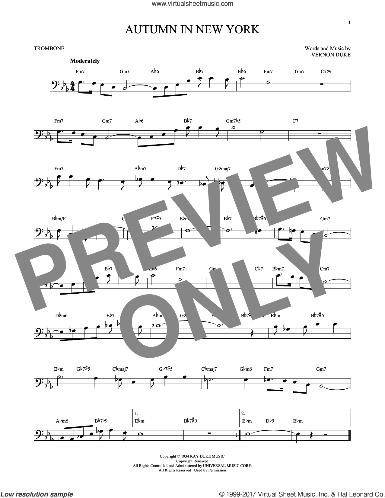 Autumn In New York sheet music for trombone solo by Vernon Duke, Bud Powell and Jo Stafford, intermediate skill level