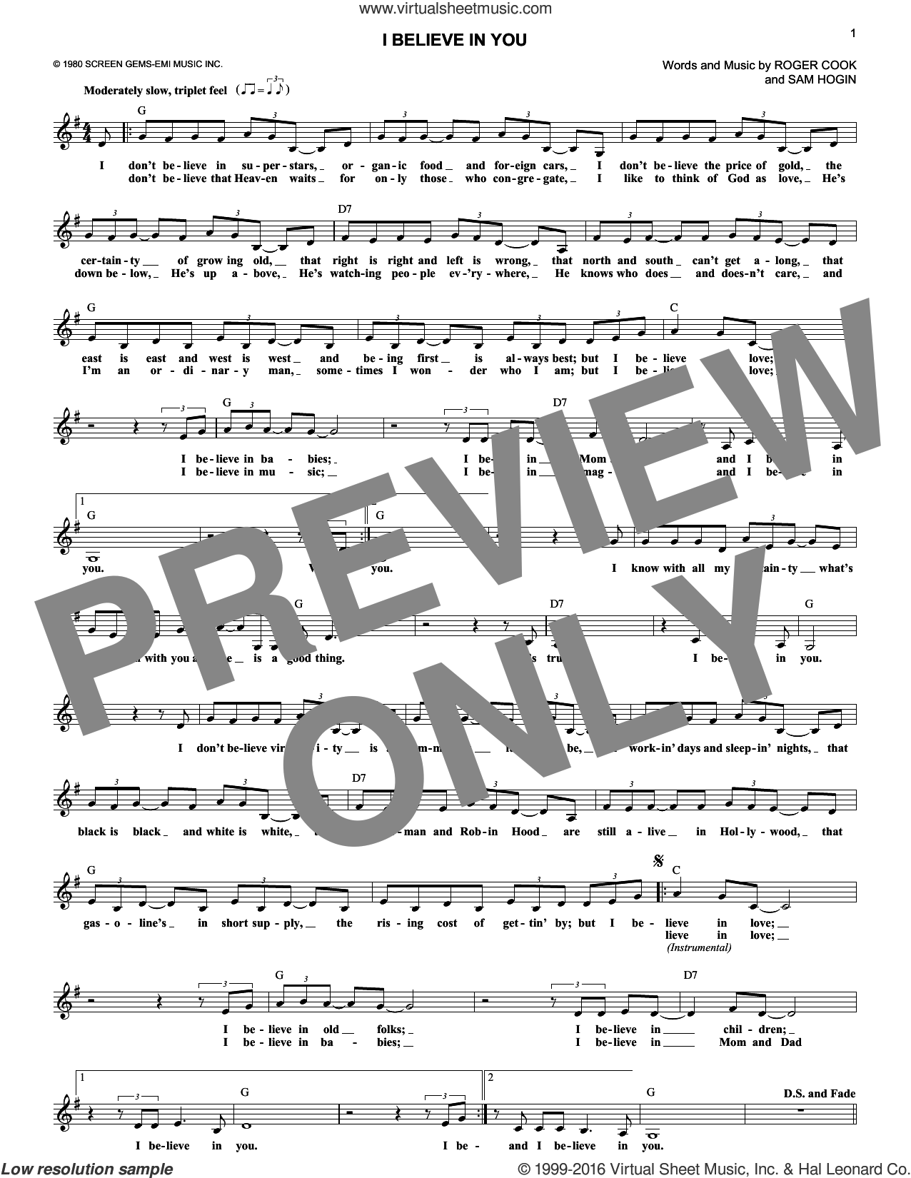 I Believe In You sheet music for voice and other instruments (fake book) by Don Williams, Roger Cook and Sam Hogin, intermediate skill level