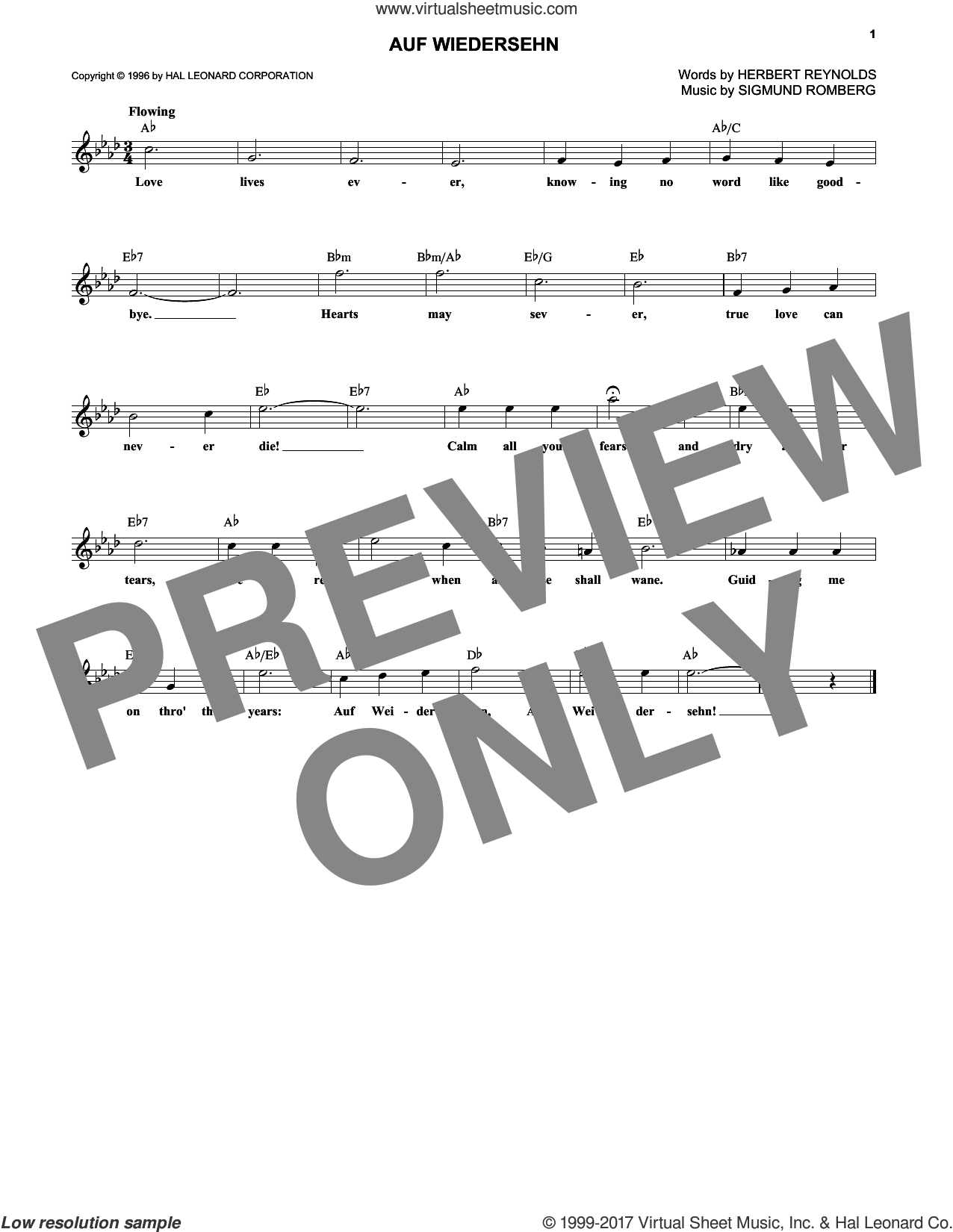Auf Wiedersehn sheet music for voice and other instruments (fake book) by Sigmund Romberg, intermediate voice. Score Image Preview.