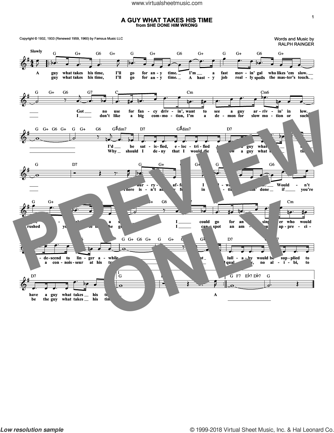A Guy What Takes His Time sheet music for voice and other instruments (fake book) by Ralph Rainger. Score Image Preview.