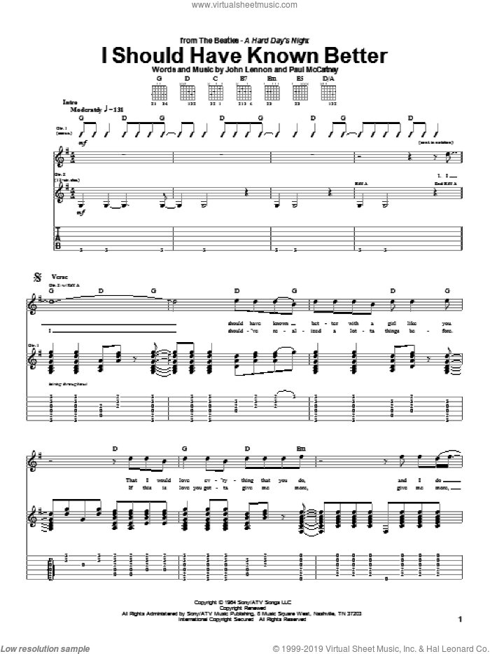 I Should Have Known Better sheet music for guitar (tablature) by Paul McCartney, The Beatles and John Lennon. Score Image Preview.