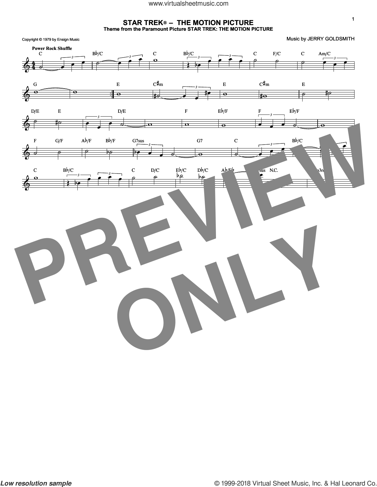 Star Trek The Motion Picture sheet music for voice and other instruments (fake book) by Jerry Goldsmith, classical score, intermediate voice. Score Image Preview.